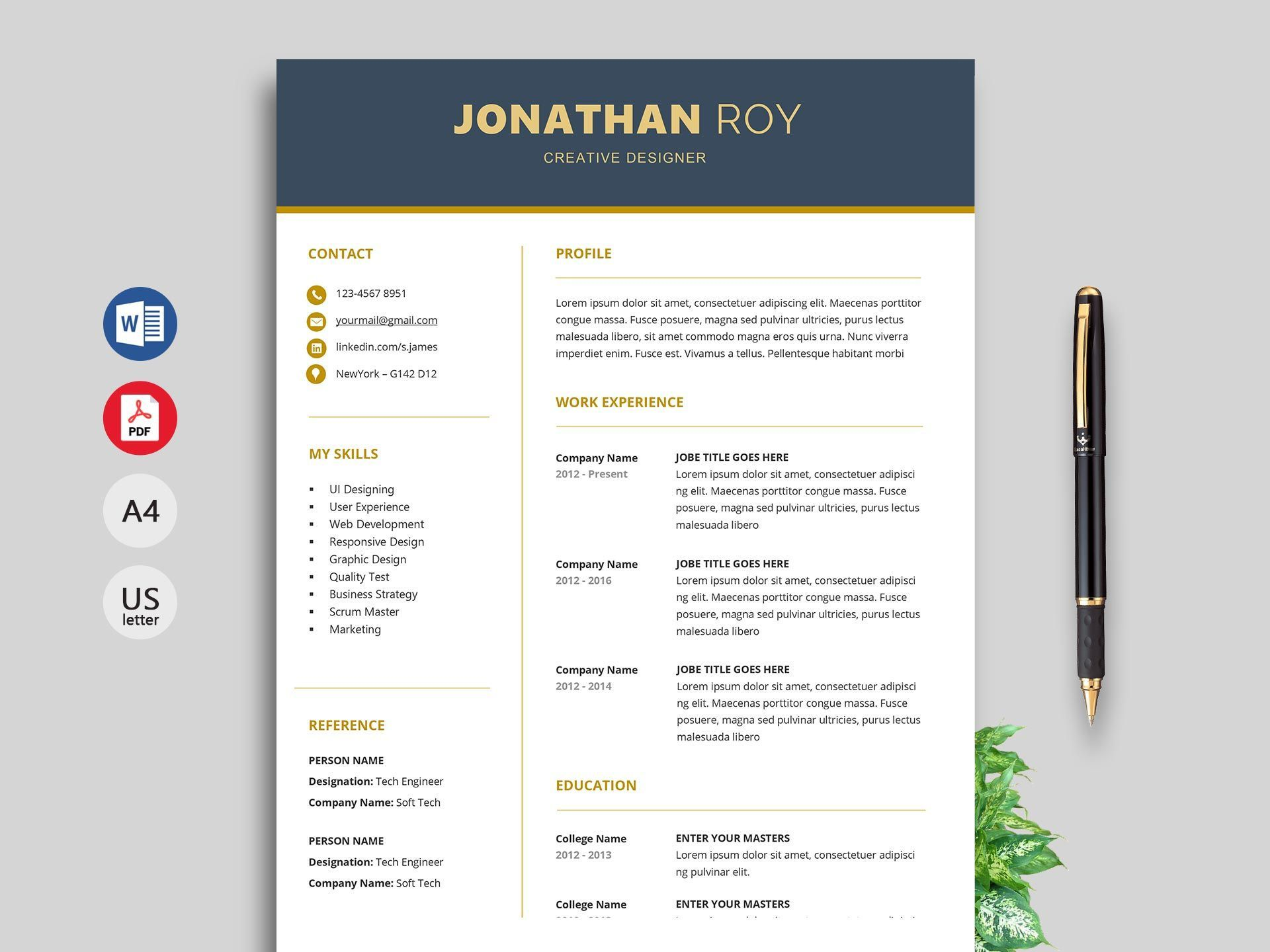 003 Unusual Professional Resume Template Free Download Word Example  Cv 2020 Format With PhotoFull