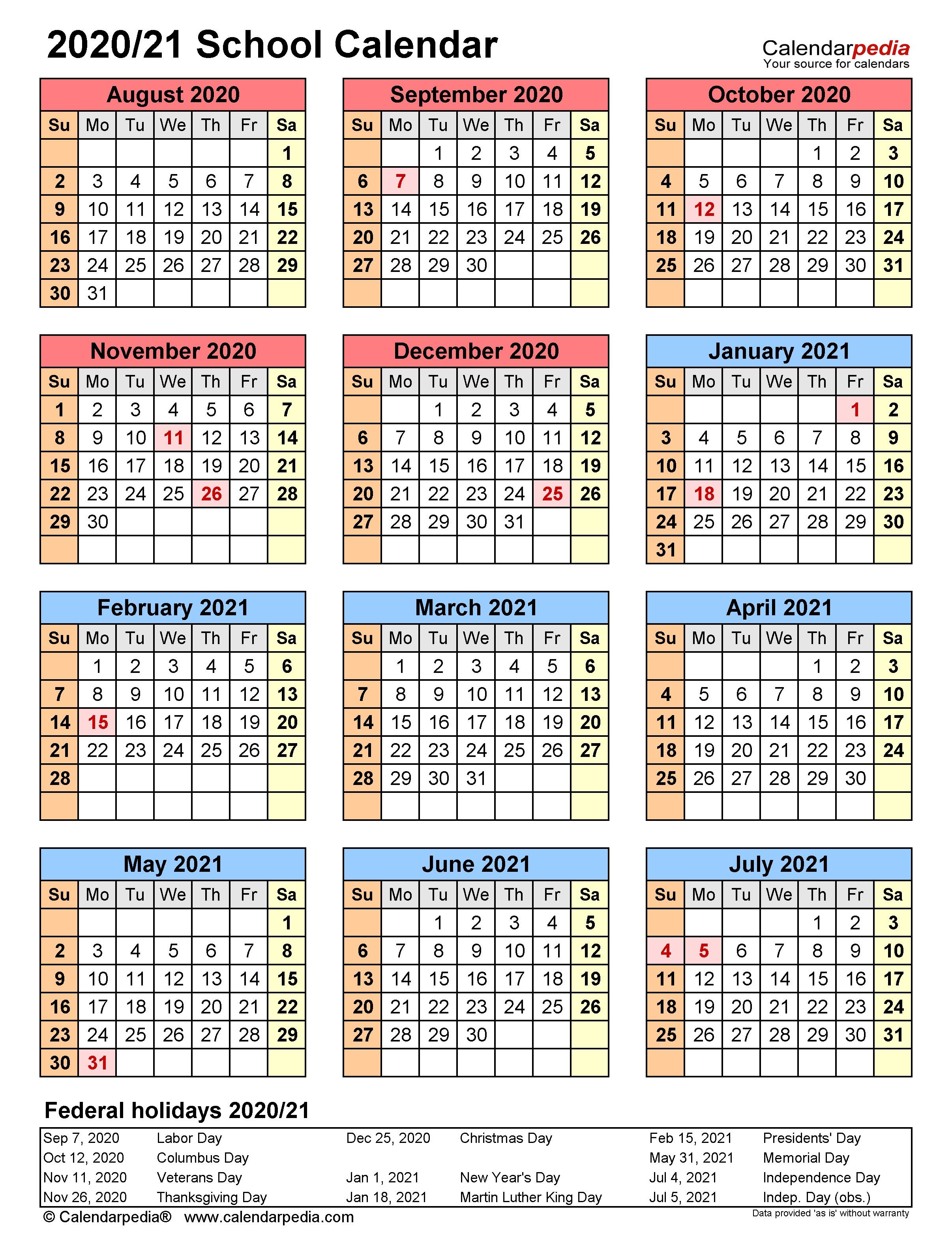 003 Unusual School Year Calendar Template High Definition  Excel 2019-20 WordFull