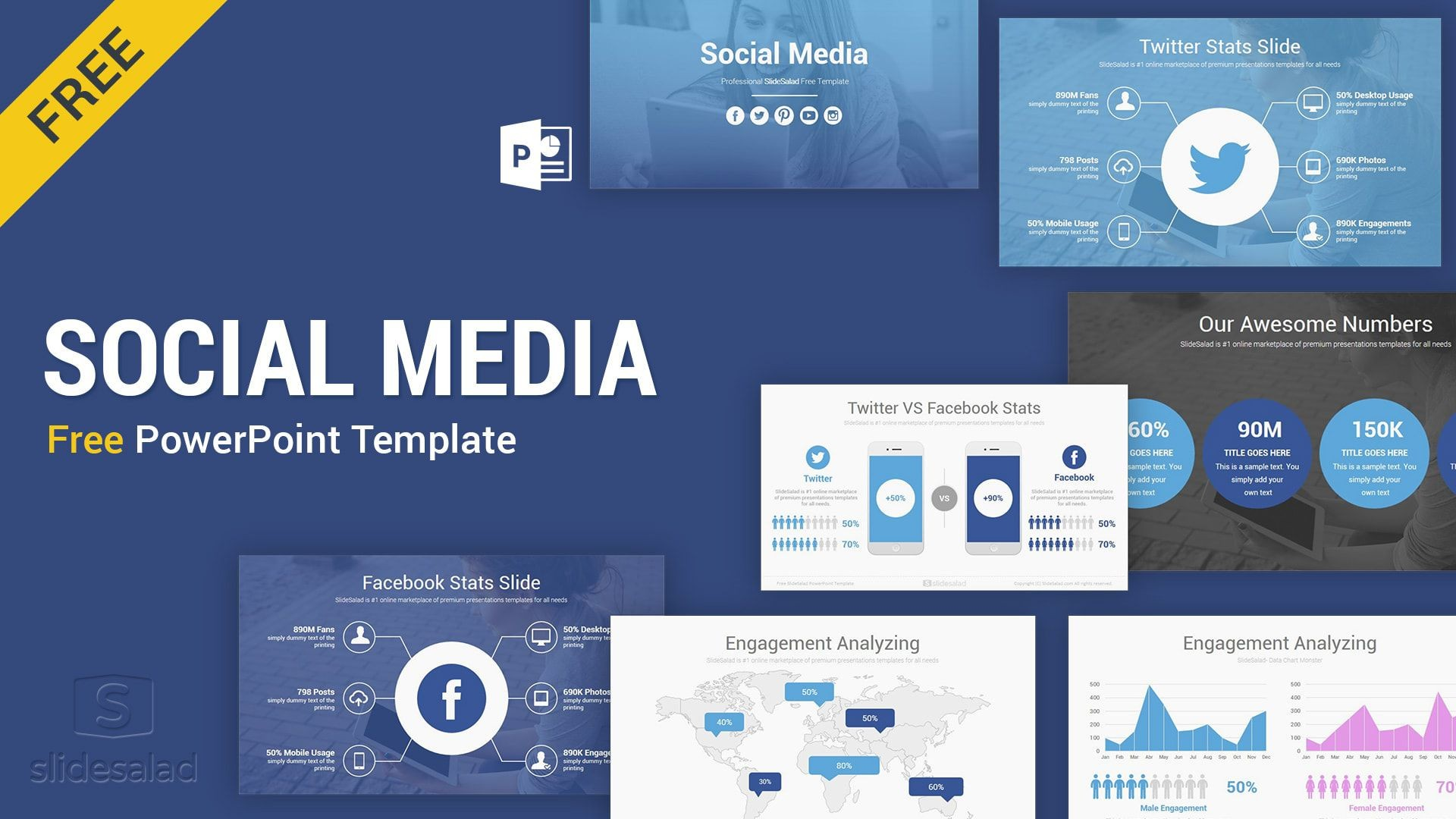 003 Unusual Social Media Powerpoint Template Free Highest Quality  Strategy Trend 2017 - Report1920