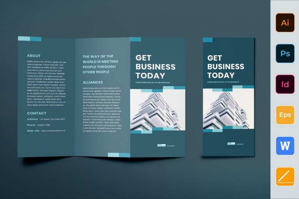 003 Unusual Three Fold Brochure Template Indesign Picture  3 A4Large