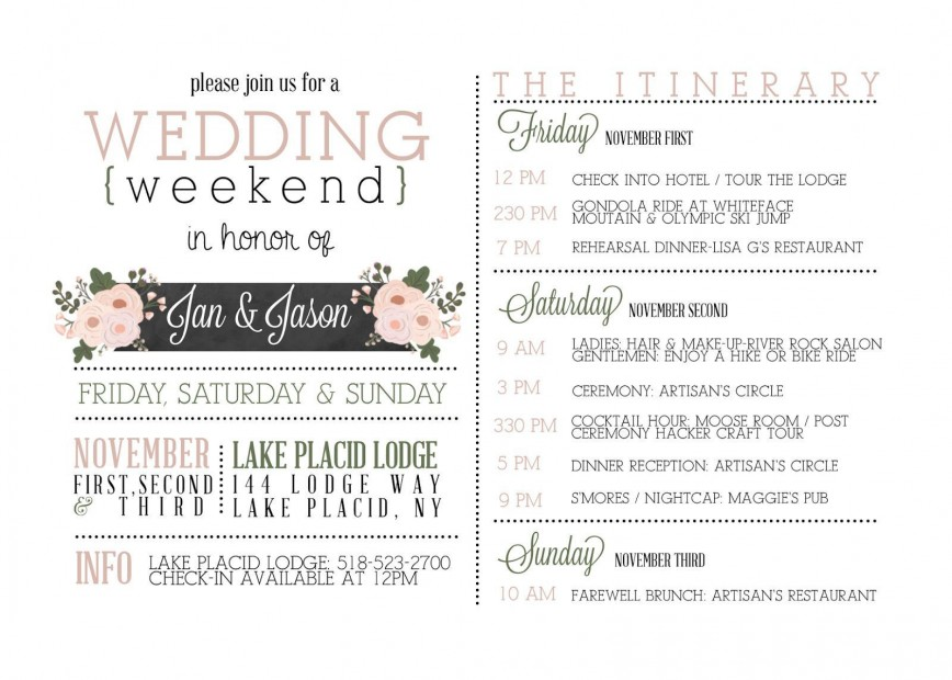 003 Unusual Wedding Day Itinerary Template Idea  Sample Excel Word868
