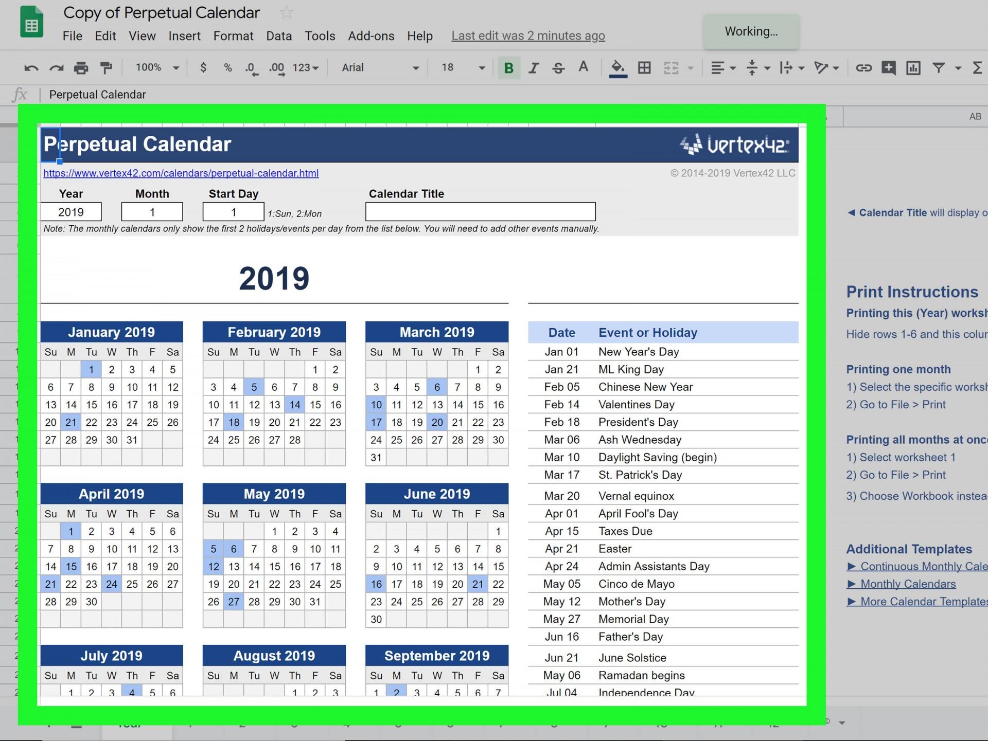 003 Wonderful Calendar Template Google Doc Idea  Docs Editable Two Week 2019-201920
