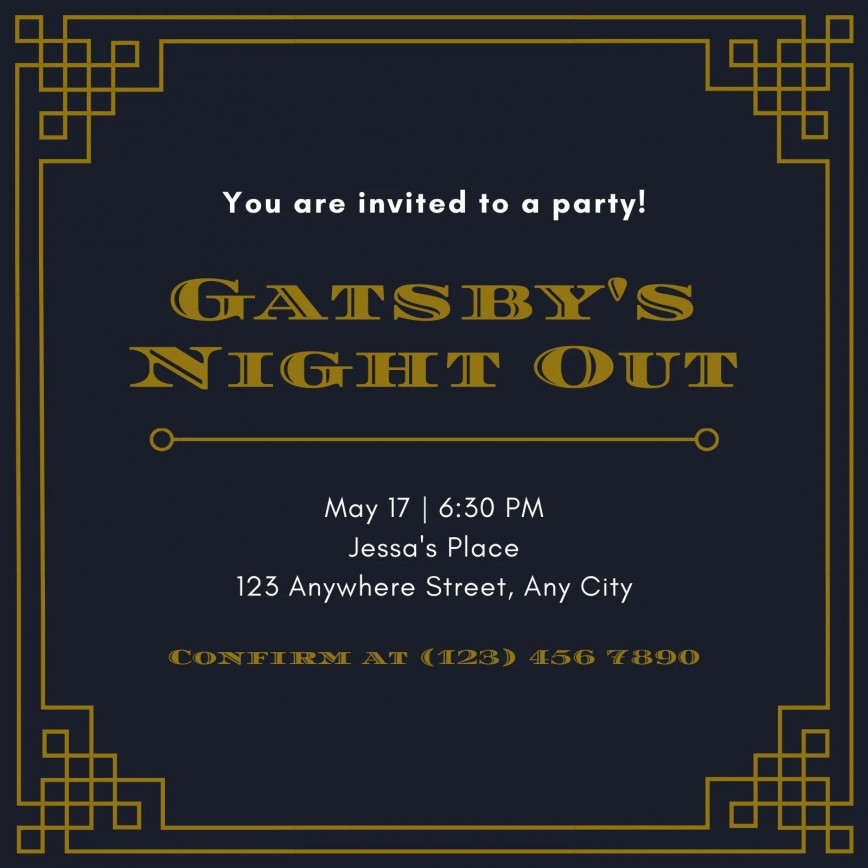 003 Wonderful Great Gatsby Invitation Template Image  Templates Themed Download Party Invite