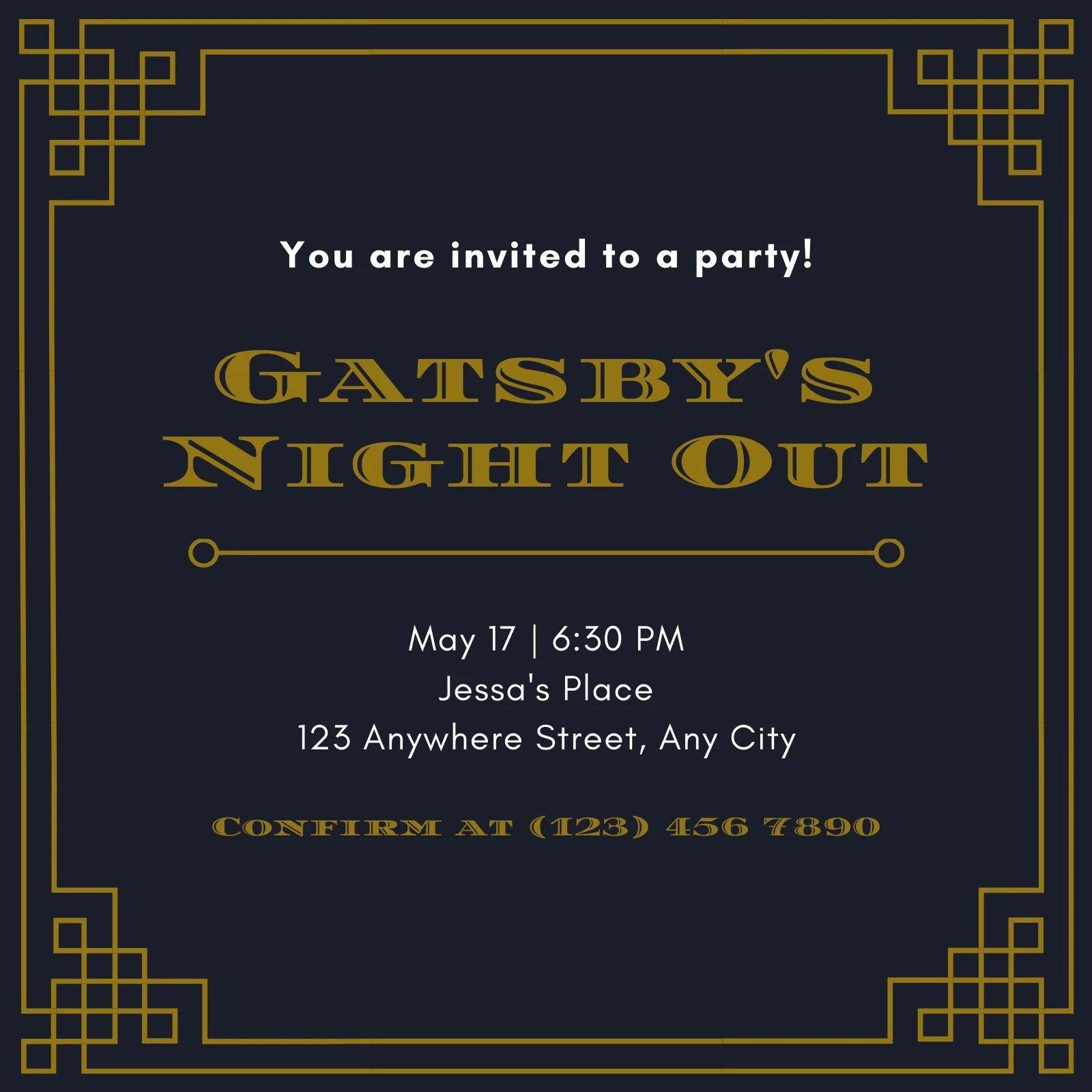 003 Wonderful Great Gatsby Invitation Template Image  Templates Free Download BlankFull