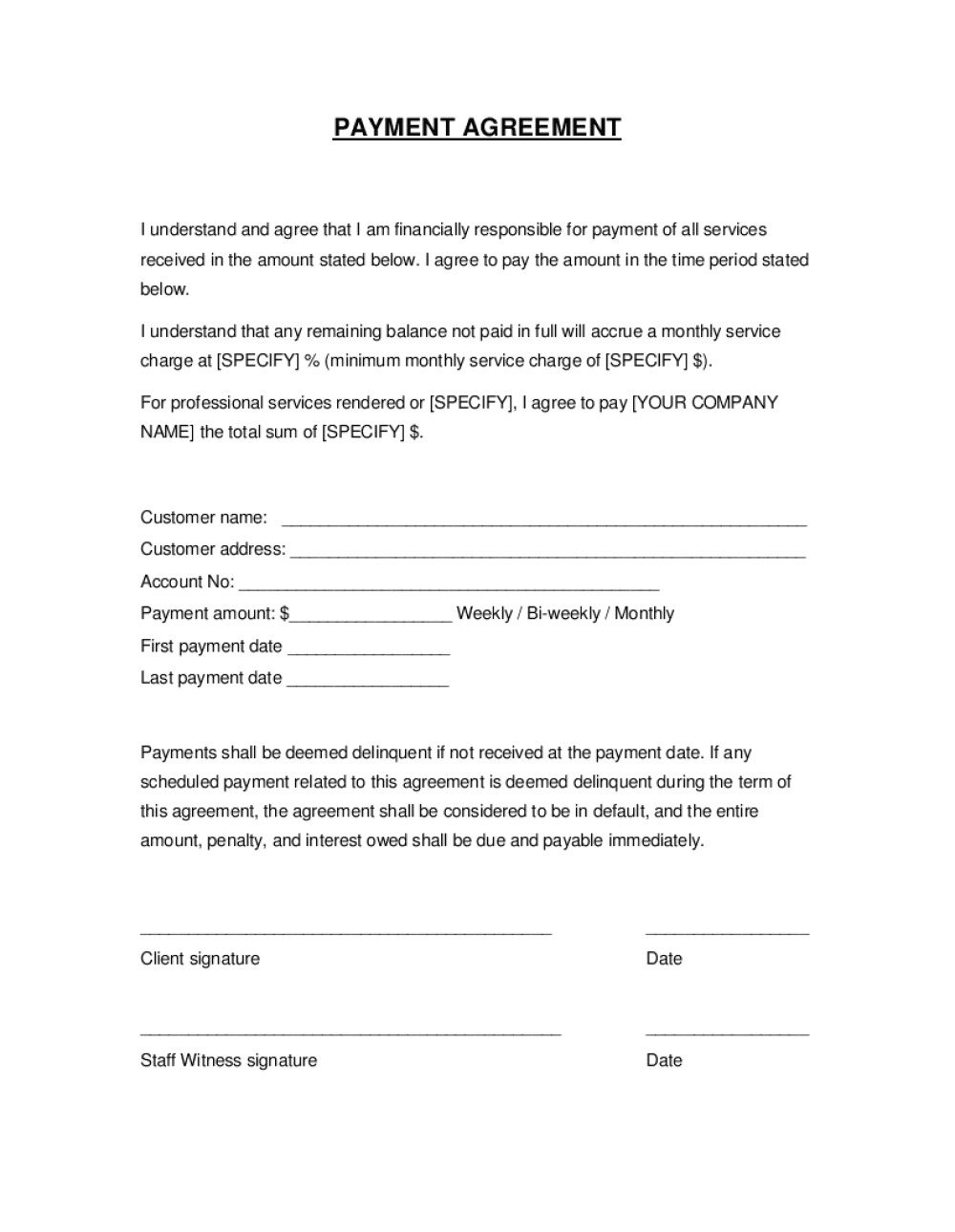 003 Wonderful Installment Payment Contract Template High Definition  Agreement Free Car WordFull