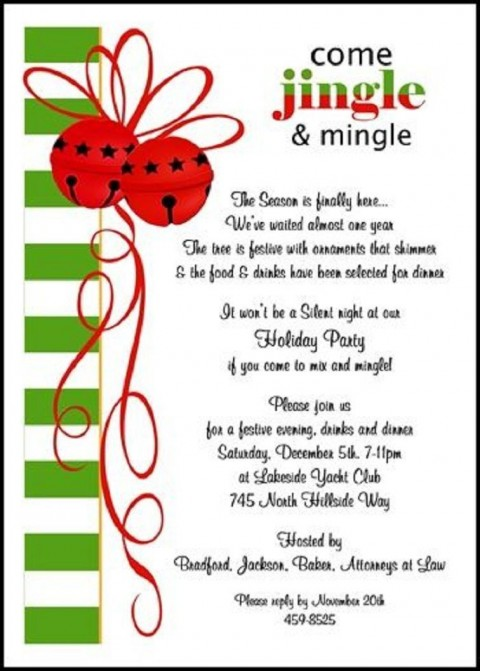 003 Wonderful Office Christma Party Invitation Wording Sample  Holiday Example480