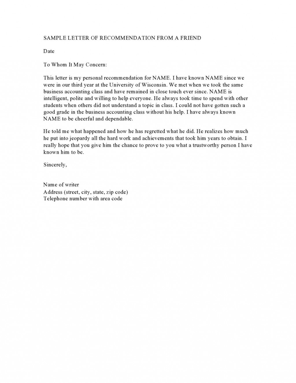 003 Wonderful Personal Reference Letter Of Recommendation Template Picture  Sample CharacterLarge