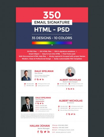 003 Wonderful Professional Email Signature Template Image  Busines Download360