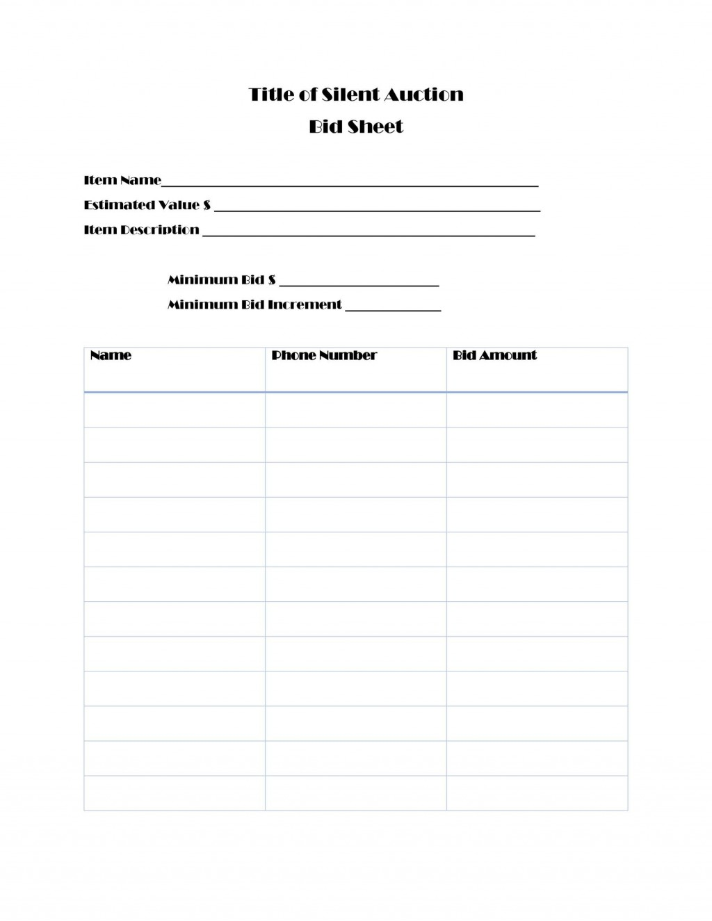 003 Wonderful Silent Auction Bid Sheet Template Free Design  Pdf DownloadLarge