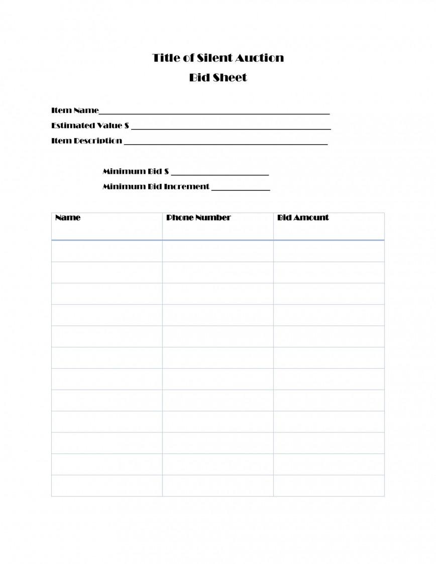 003 Wonderful Silent Auction Bid Sheet Template Free Design  For Mac Printable