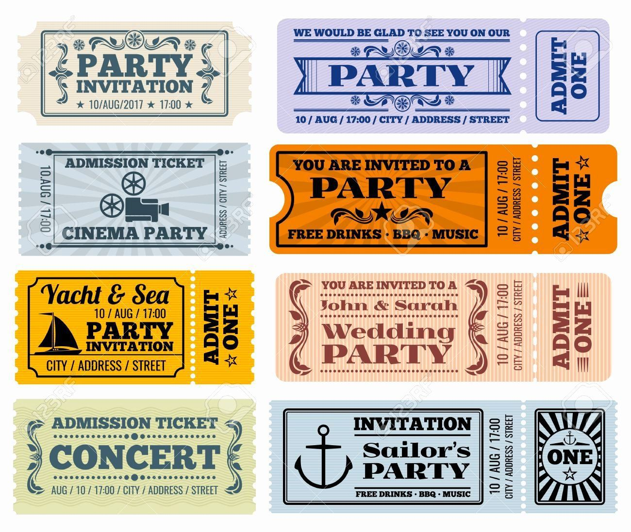 003 Wonderful Vintage Concert Ticket Template Free Download Design Full