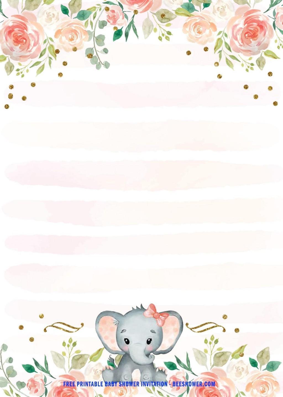 003 Wondrou Elephant Baby Shower Invitation Template Picture  Templates Free Pdf BoyLarge