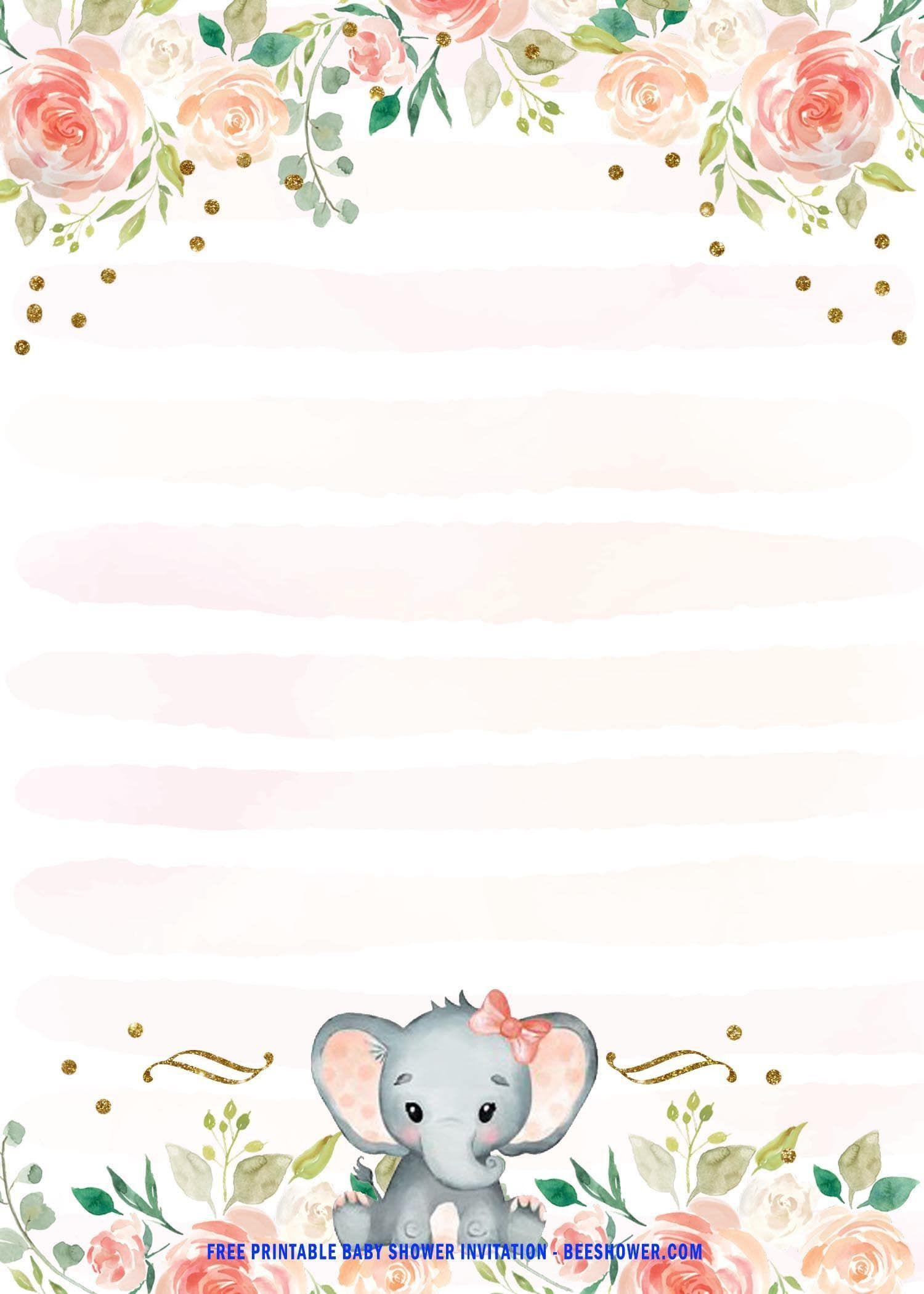 003 Wondrou Elephant Baby Shower Invitation Template Picture  Templates Free Pdf BoyFull