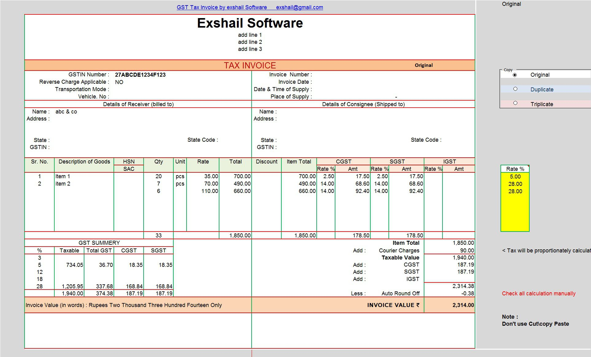 003 Wondrou Excel Gst Invoice Format Download Picture  In Pdf Tally Tax Free SheetFull