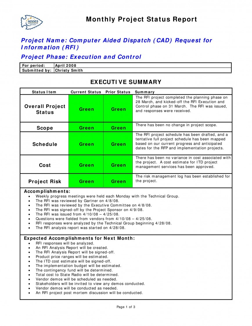 003 Wondrou Project Statu Report Template Design  Example Pdf Powerpoint Monthly868