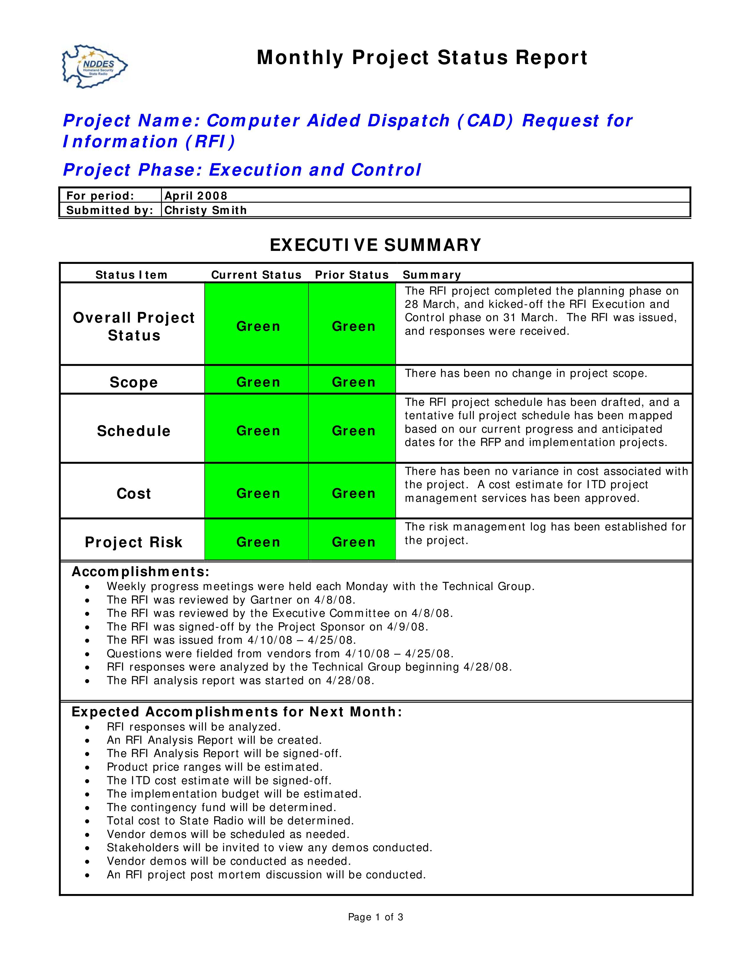 003 Wondrou Project Statu Report Template Design  Example Pdf Powerpoint MonthlyFull