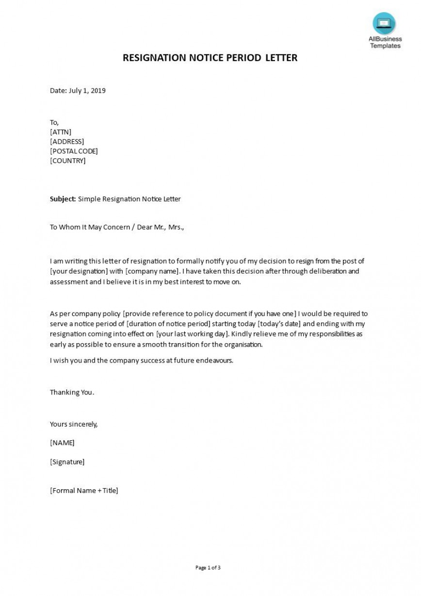003 Wondrou Resignation Letter Template Word Photo  South Africa Document Doc