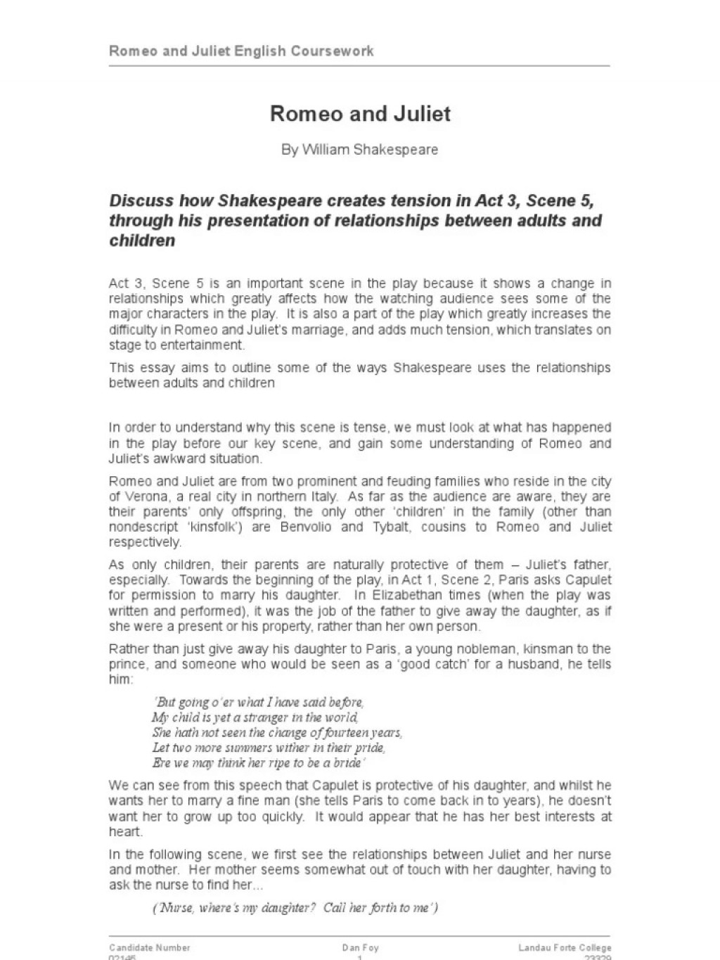 003 Wondrou Romeo And Juliet Essay Design  Who I Responsible For Juliet' Death Introduction Hook Question PdfLarge