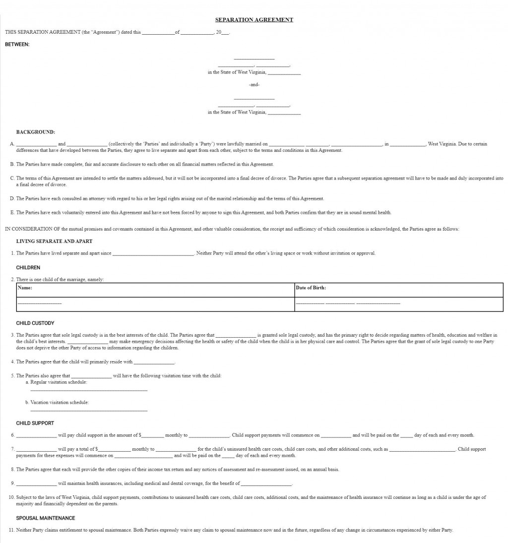 003 Wondrou Virginia Separation Agreement Template Highest Clarity  Marital MarriageLarge