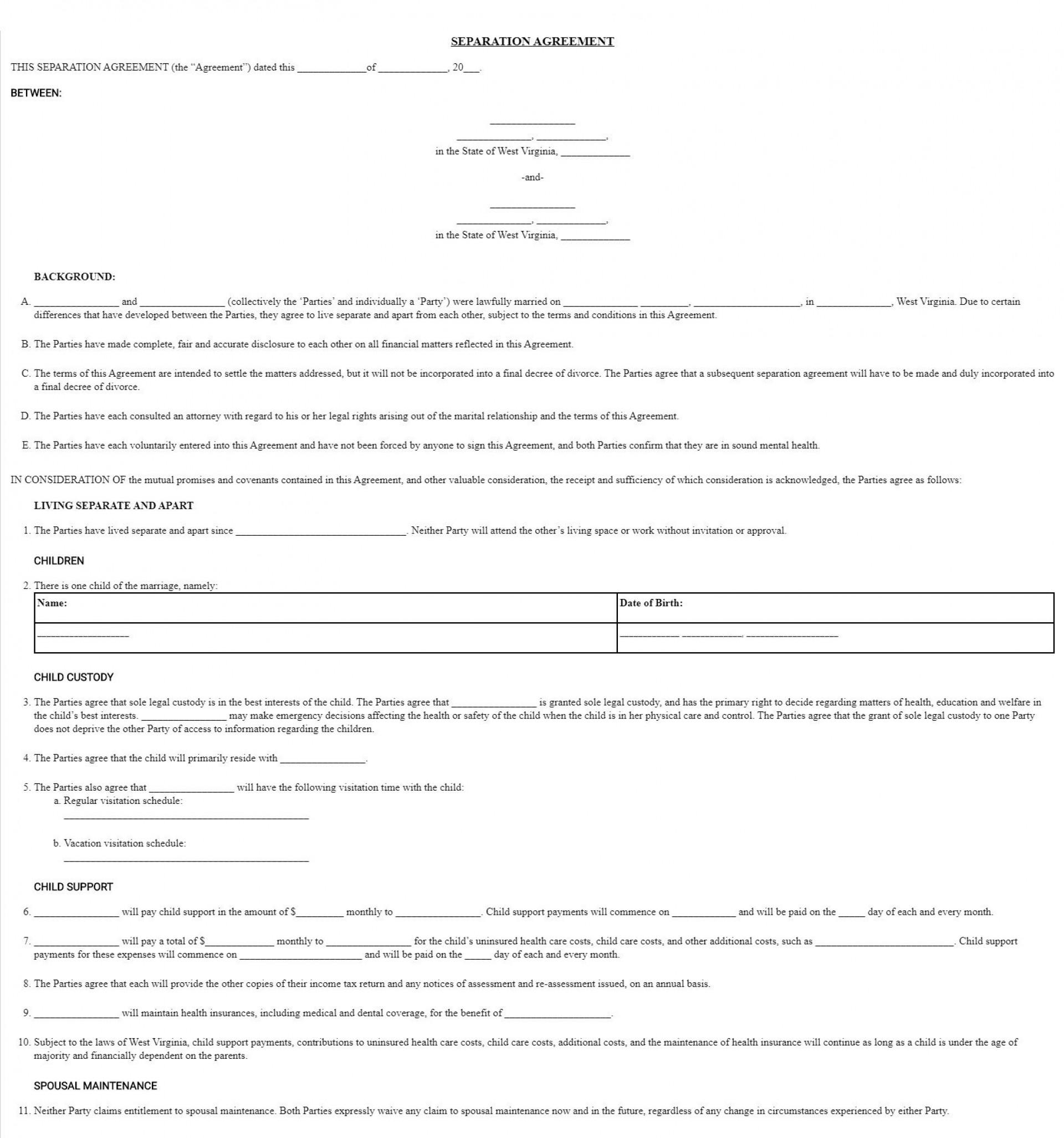 003 Wondrou Virginia Separation Agreement Template Highest Clarity  Marital Marriage1920