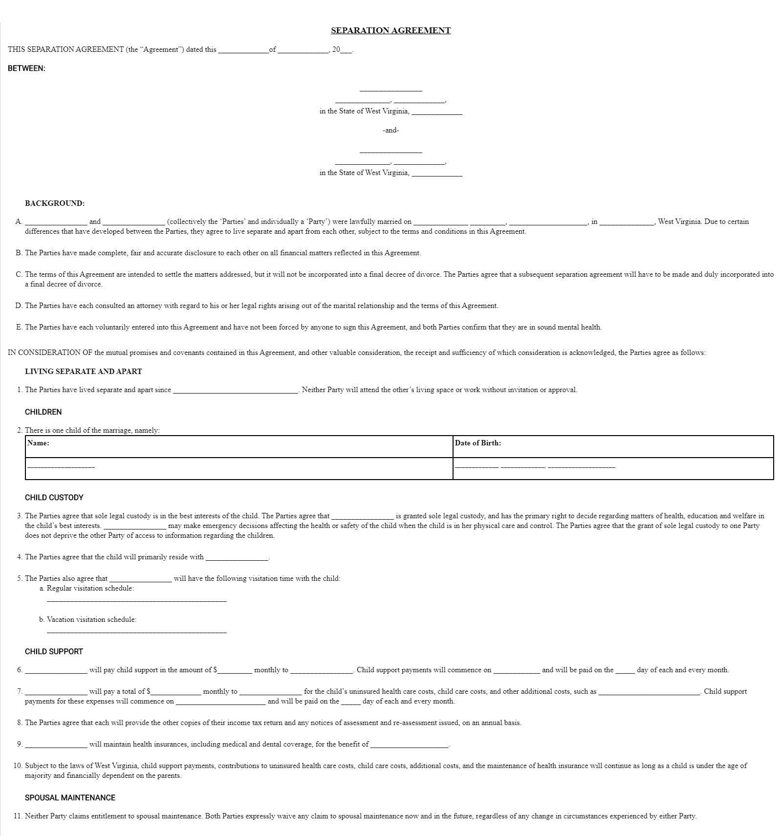 003 Wondrou Virginia Separation Agreement Template Highest Clarity  Marital MarriageFull