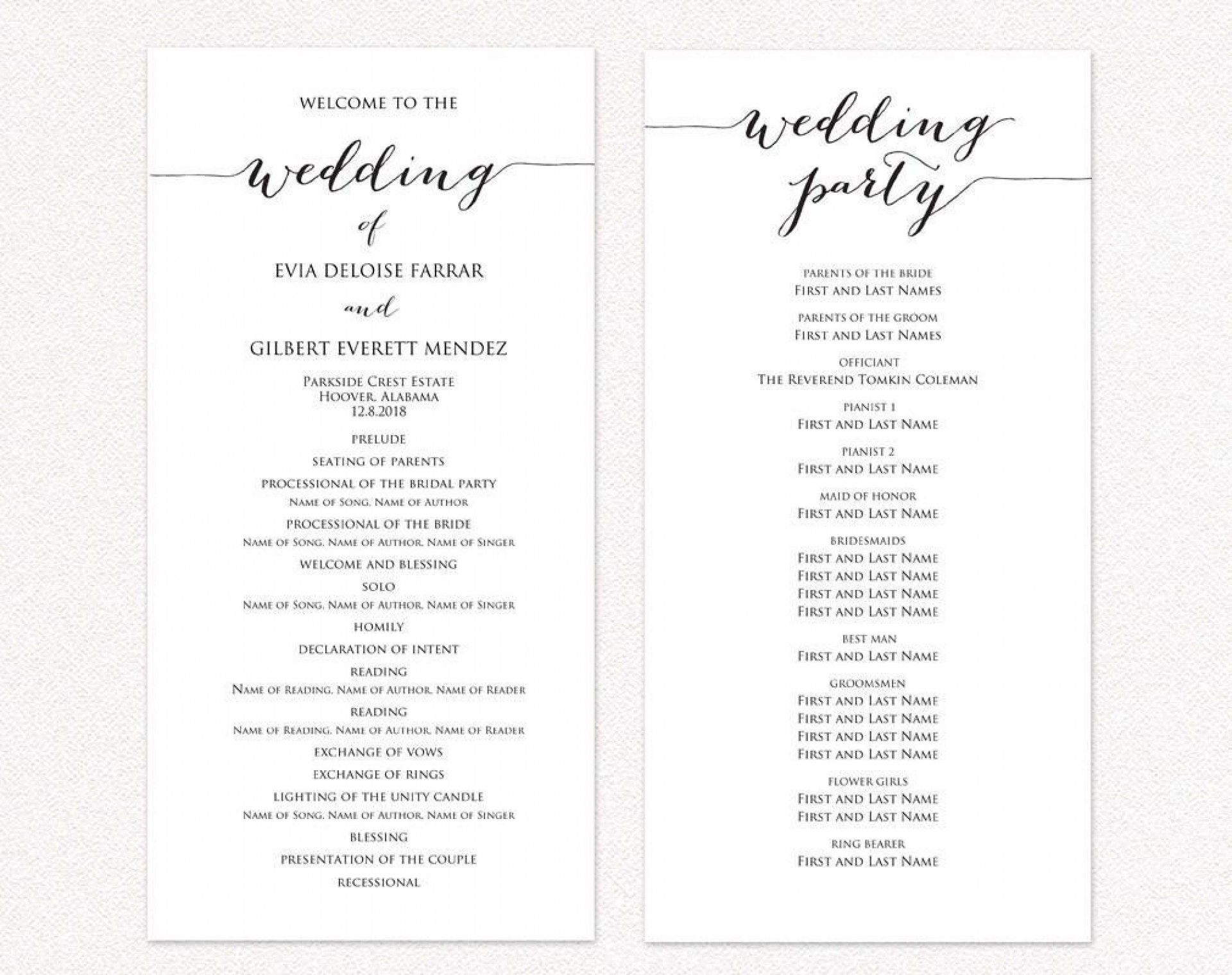 003 Wondrou Wedding Reception Program Template Sample  Templates Layout Free Download Ceremony And1920