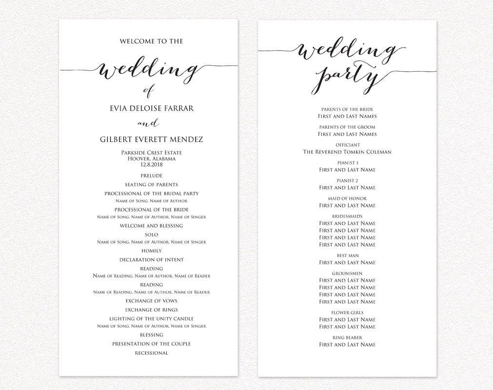 003 Wondrou Wedding Reception Program Template Sample  Templates Layout Free Download Ceremony AndFull