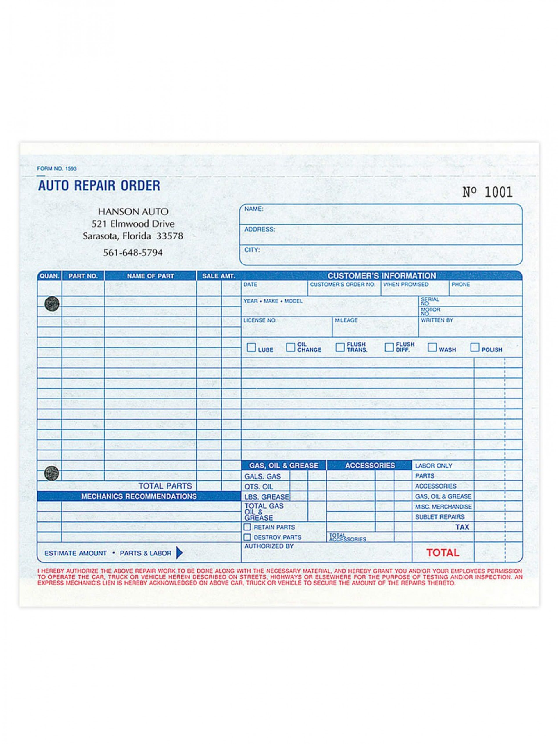 004 Amazing Auto Repair Work Order Template Excel Free Example 1920