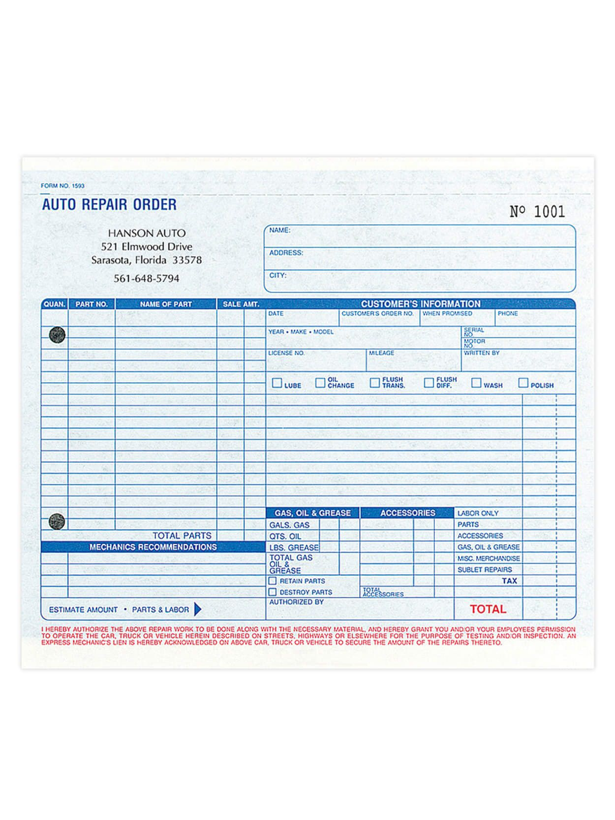 004 Amazing Auto Repair Work Order Template Excel Free Example Full