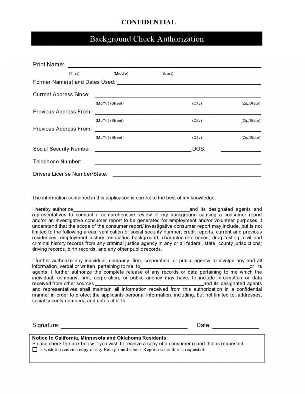 004 Amazing Background Check Form Template Free Image  AuthorizationLarge