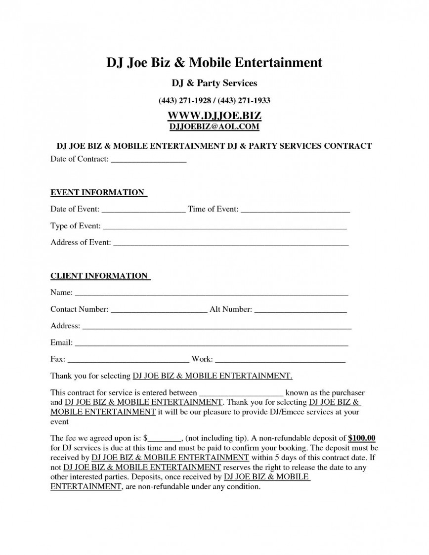 004 Amazing Disc Jockey Contract Template Photo  Form Disk