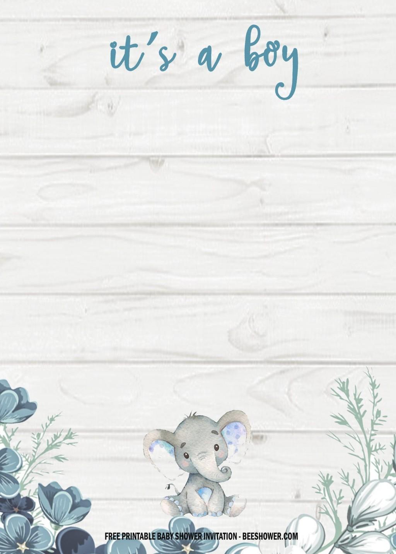 004 Amazing Elephant Baby Shower Invitation Template Concept  Templates Free Pdf BoyLarge