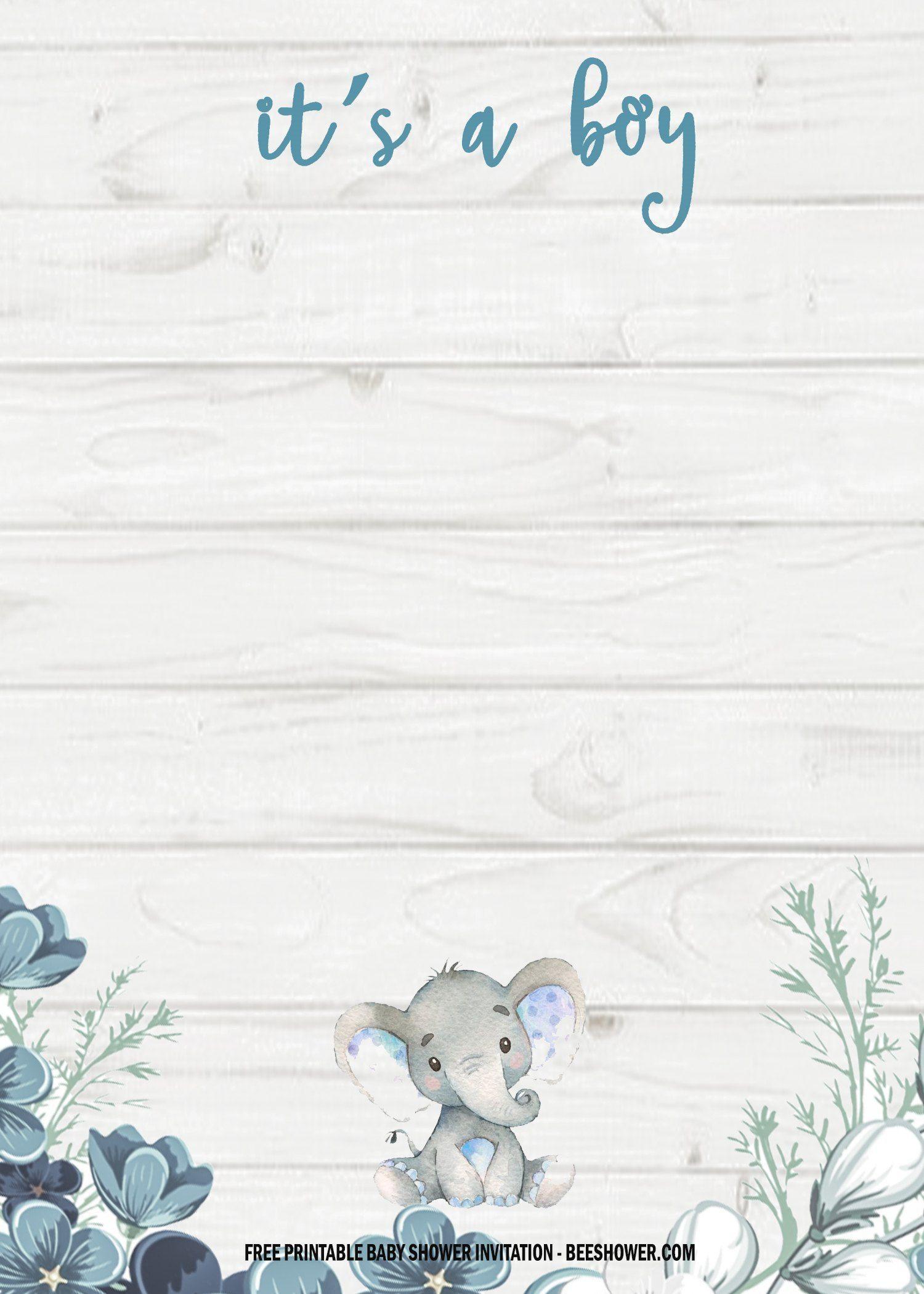 004 Amazing Elephant Baby Shower Invitation Template Concept  Templates Free Pdf BoyFull