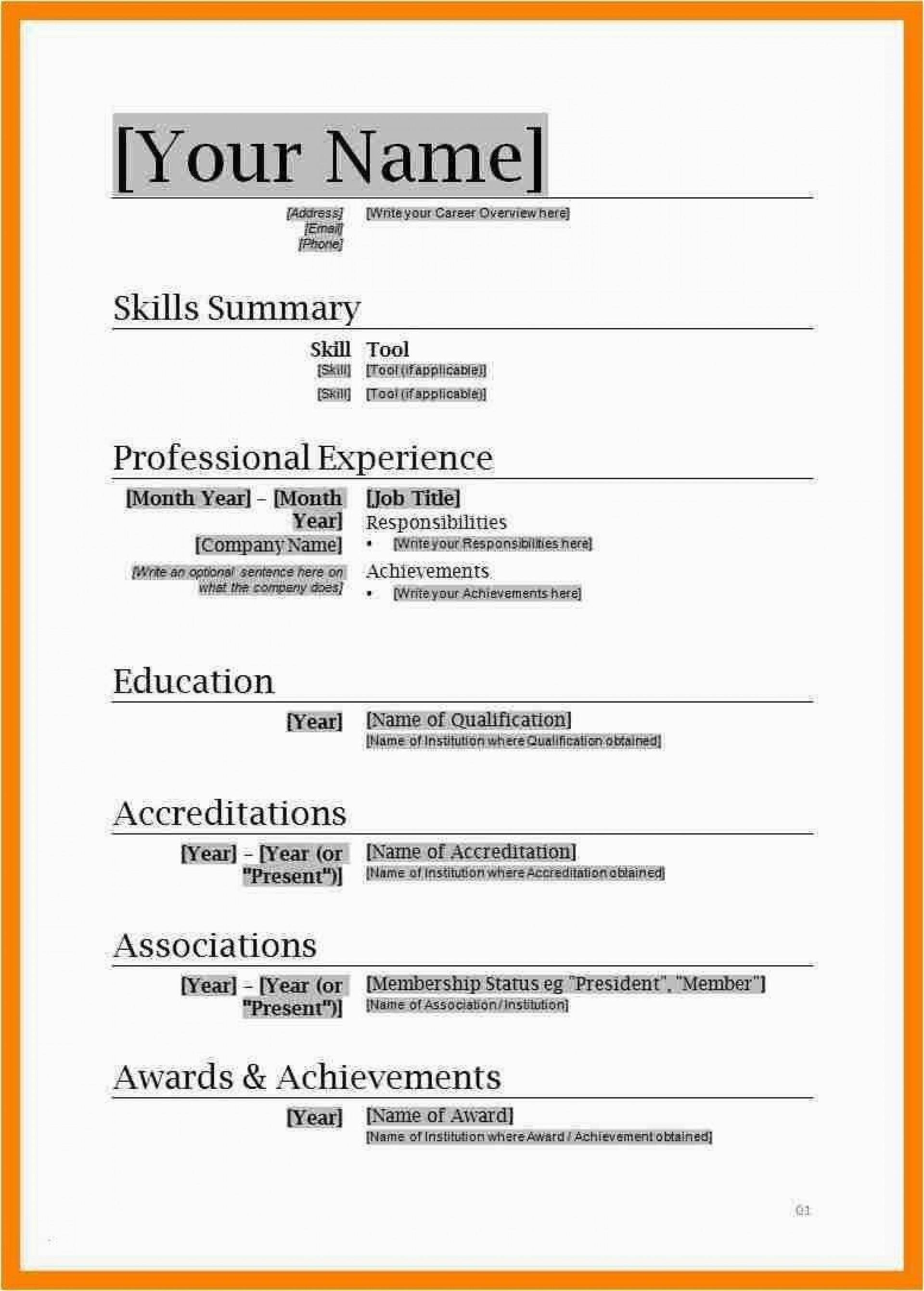 004 Amazing Entry Level Resume Template Word Download Sample 1920
