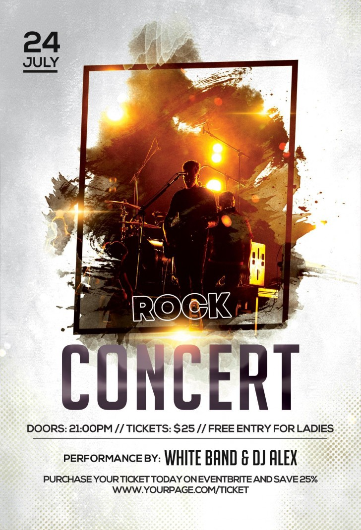 004 Amazing Free Concert Poster Template Highest Quality  Rock Psd Christma Photoshop728