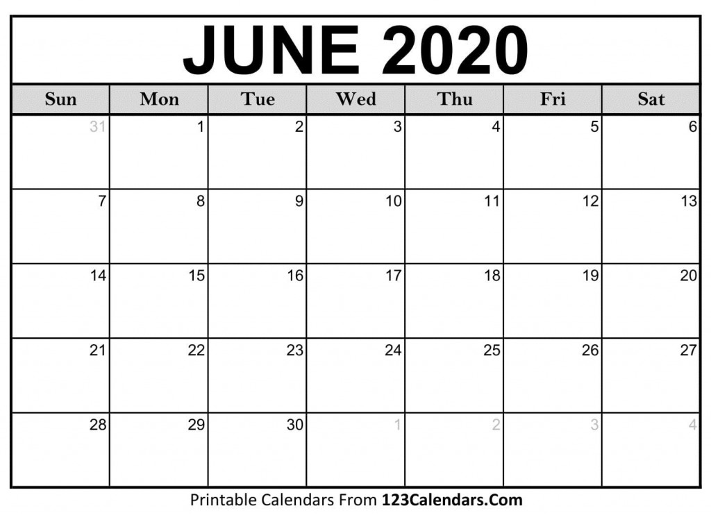 004 Amazing June 2020 Monthly Calendar Template Image Large