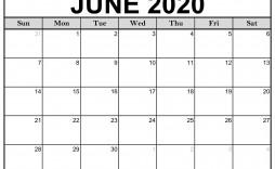 004 Amazing June 2020 Monthly Calendar Template Image