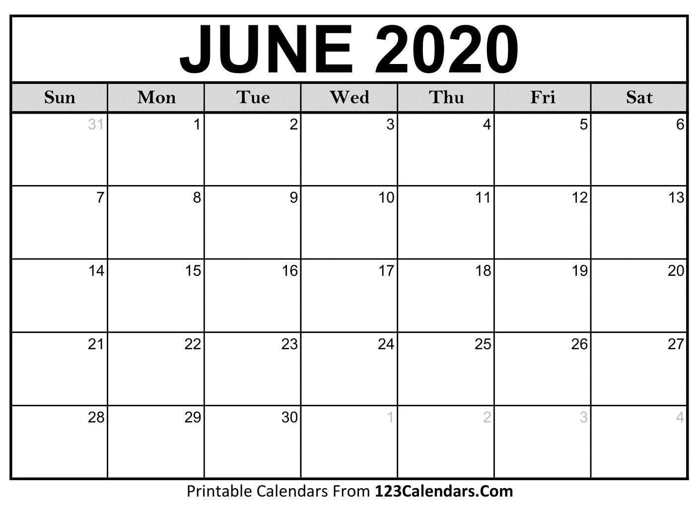 004 Amazing June 2020 Monthly Calendar Template Image Full