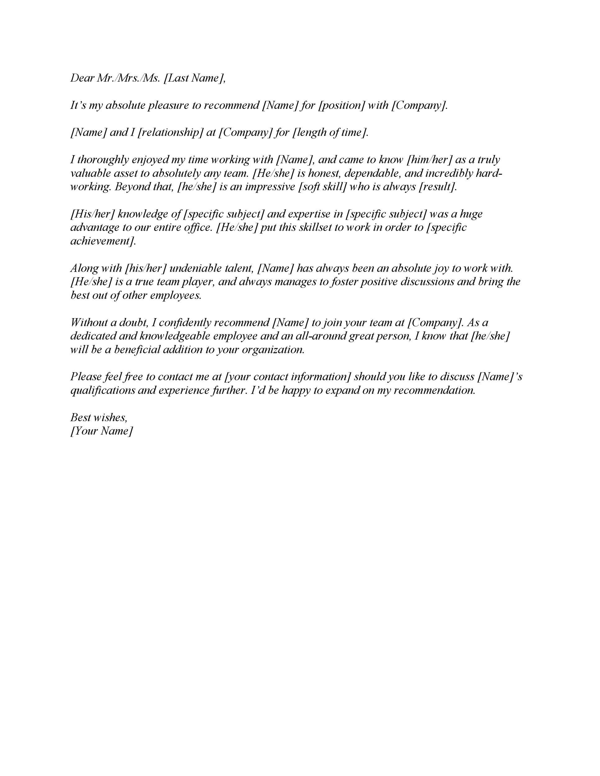 004 Amazing Letter Of Recommendation Template Word Design  General UkFull