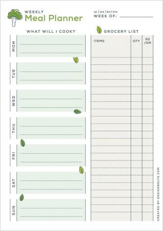 004 Amazing Meal Plan Printable Pdf Design  Worksheet Downloadable Template Sheet320