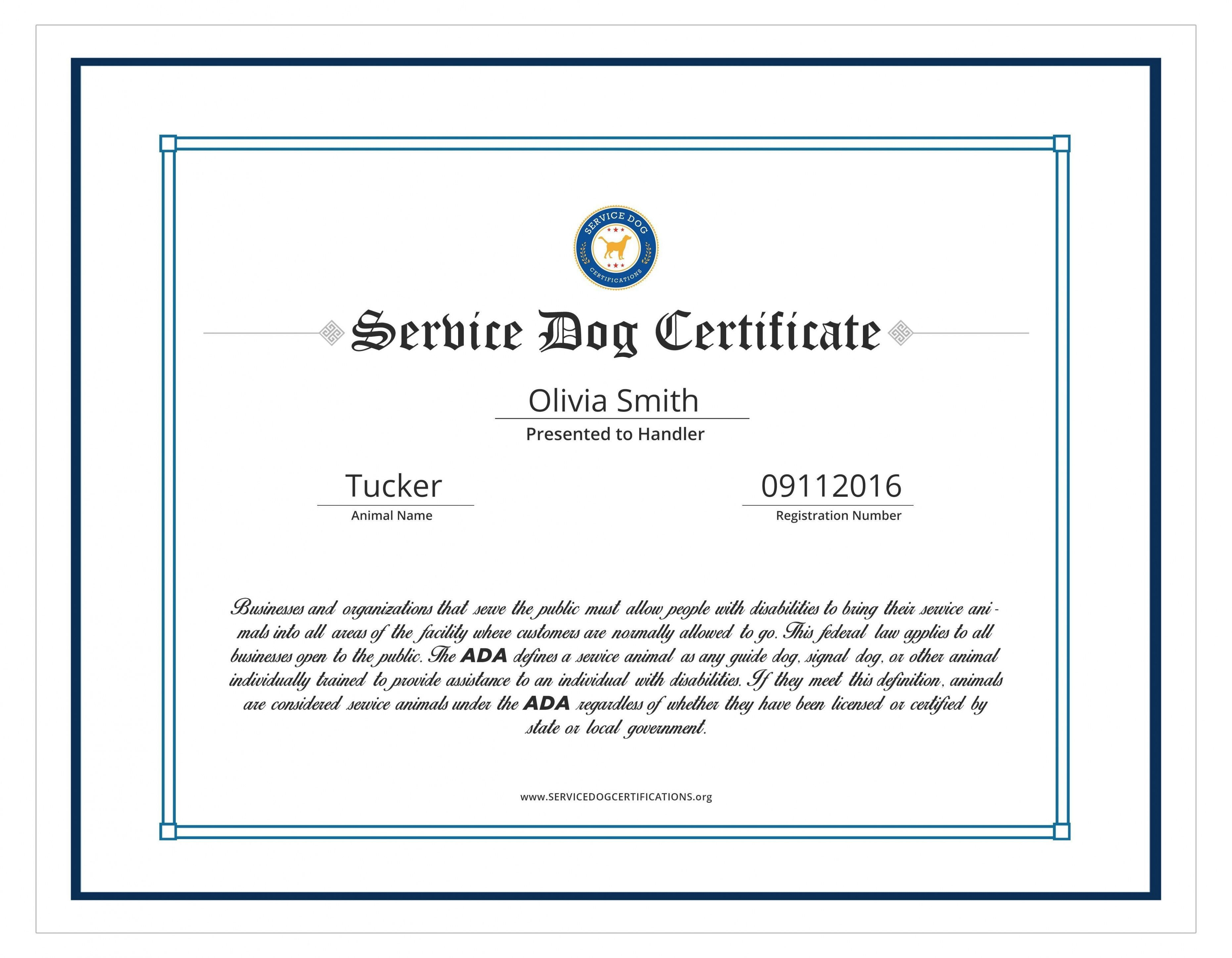 004 Amazing Service Dog Certificate Template Idea  Printable Id FreeFull