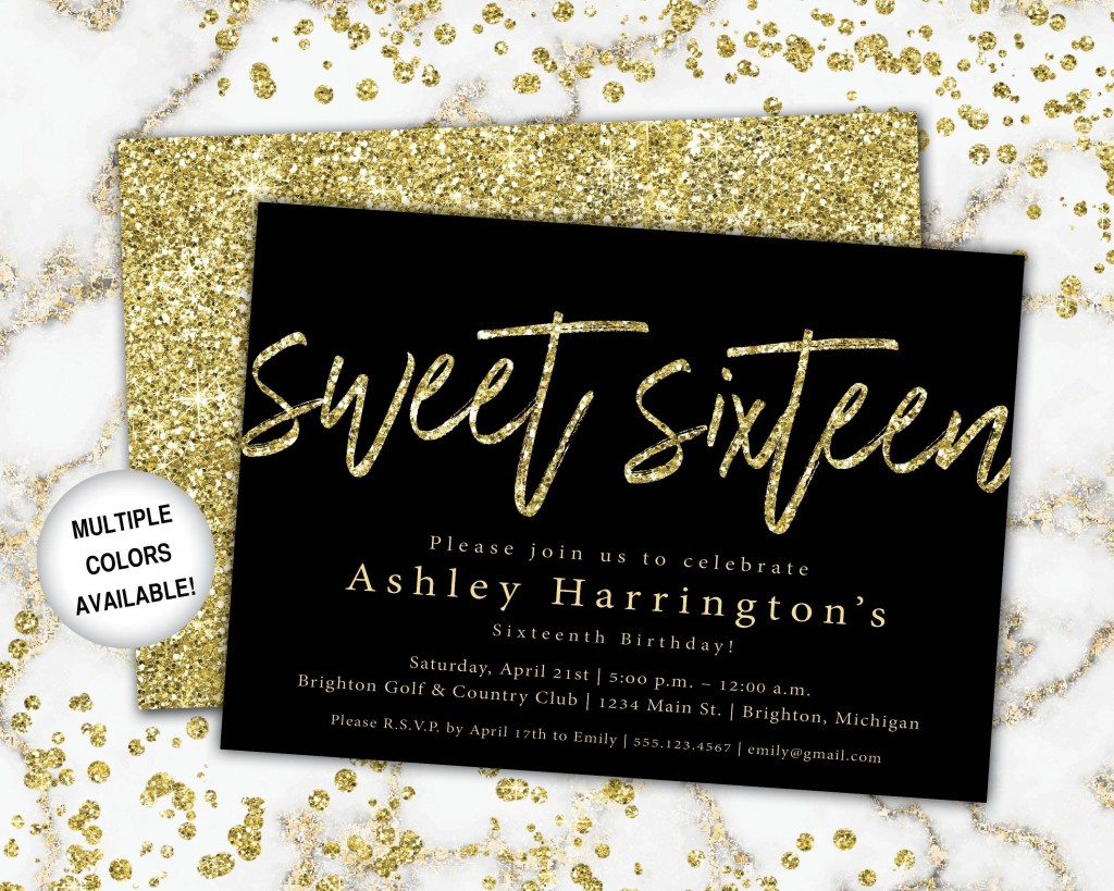 004 Amazing Sweet Sixteen Invitation Template Image  Templates Blue 16 Party FreeLarge