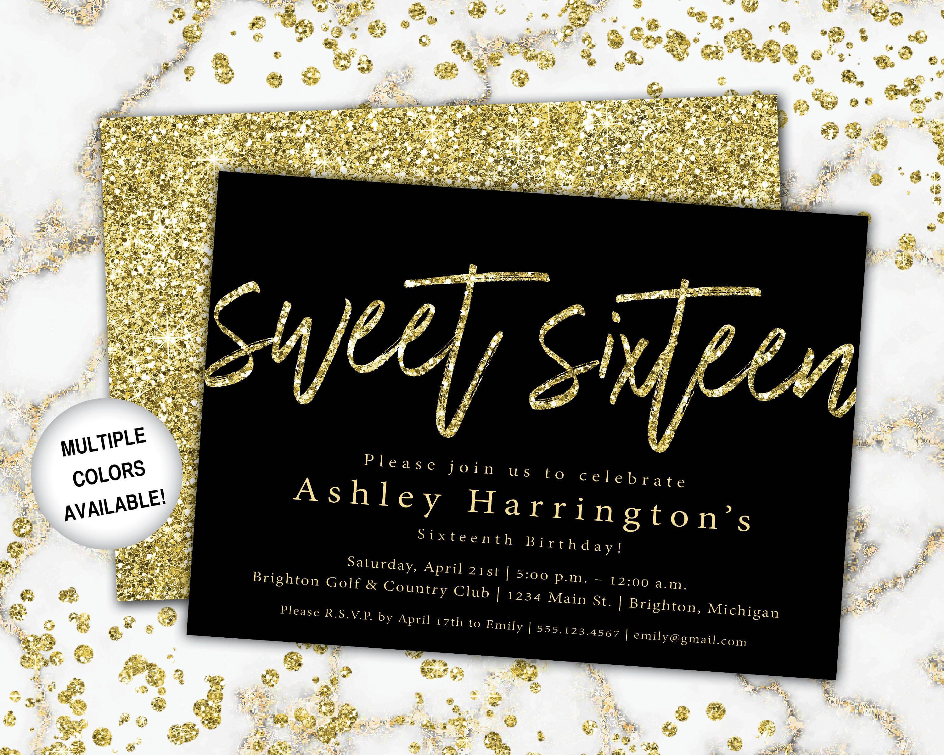 004 Amazing Sweet Sixteen Invitation Template Image  Templates Blue 16 Party FreeFull