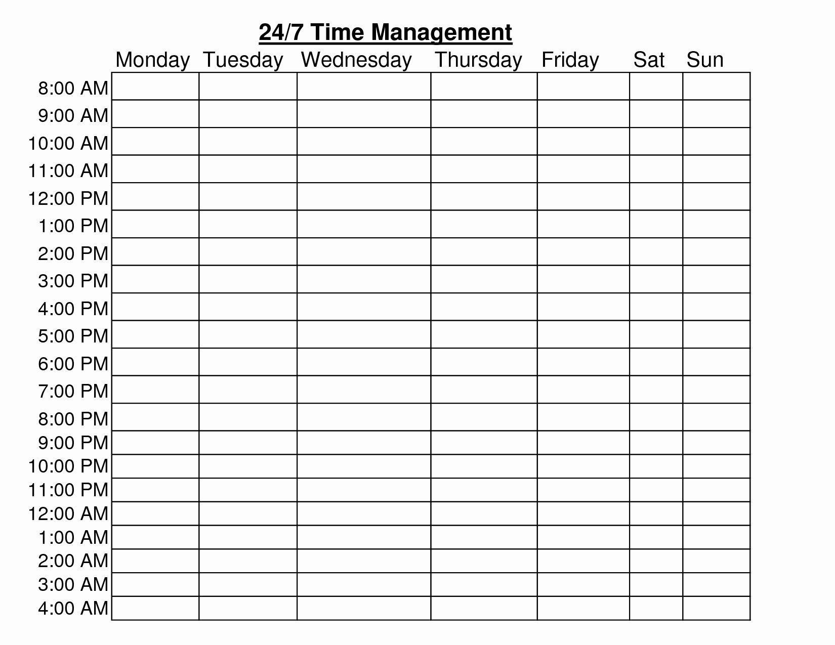 004 Archaicawful 24 Hour Schedule Template Idea  7 Day Work Calendar WordFull