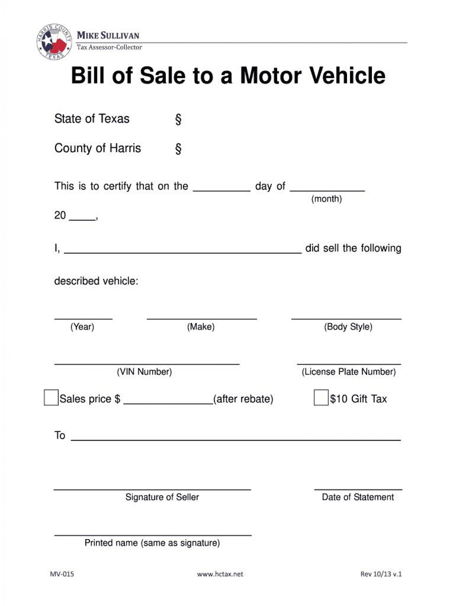 004 Archaicawful Bill Of Sale Template Texa Sample  Texas Free Car Form Dmv Document1920