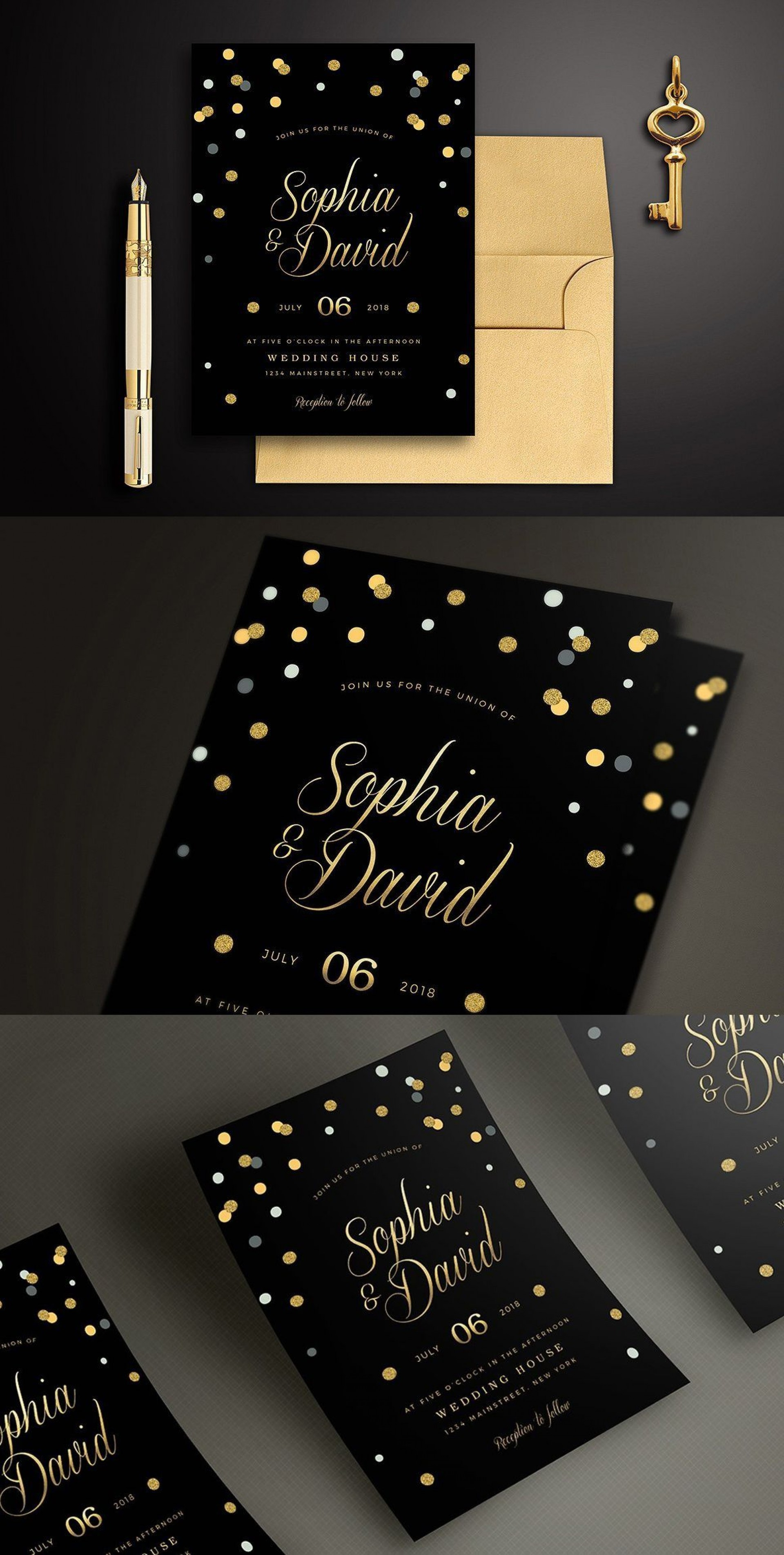 004 Archaicawful Black And Gold Invitation Template Highest Clarity  Design White Free Printable1920