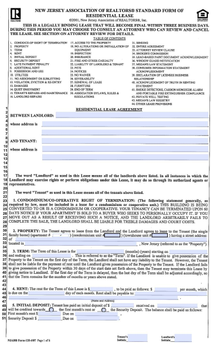 004 Archaicawful Generic Rental Lease Agreement Nj Design  SampleFull