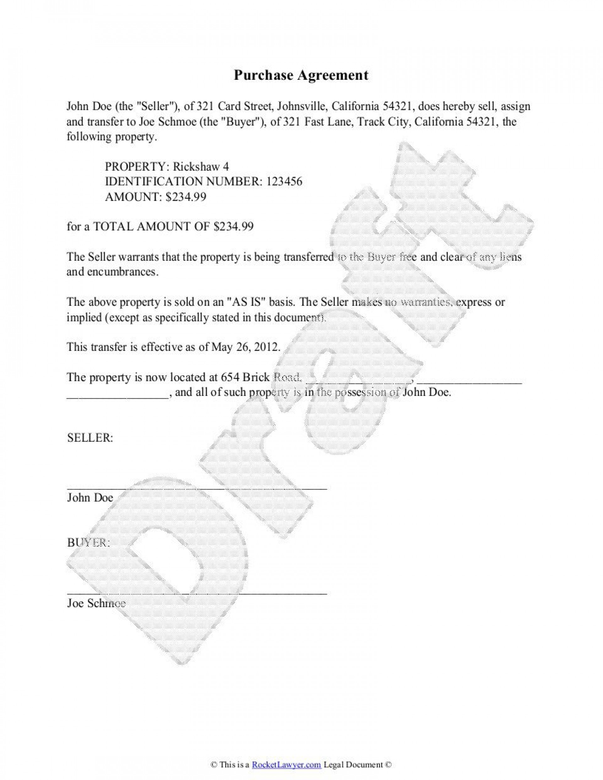 004 Archaicawful Purchase Sale Agreement Template Photo  Uk & Nz Free Busines And1920