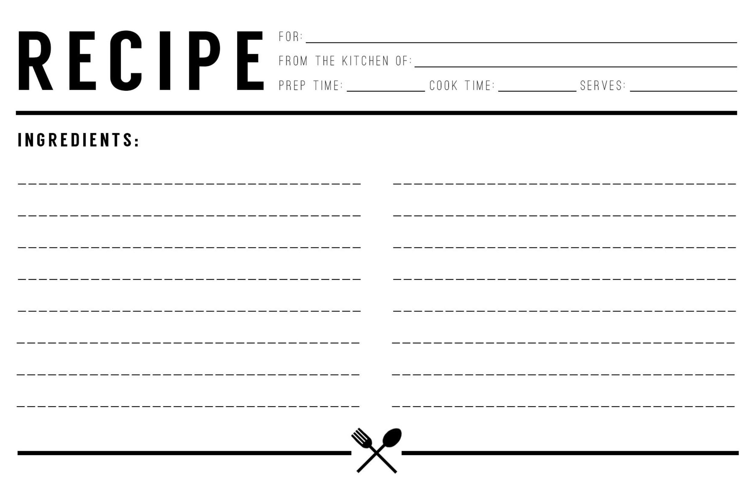004 Archaicawful Recipe Card Template For Word Design  Printable Blank FillableFull