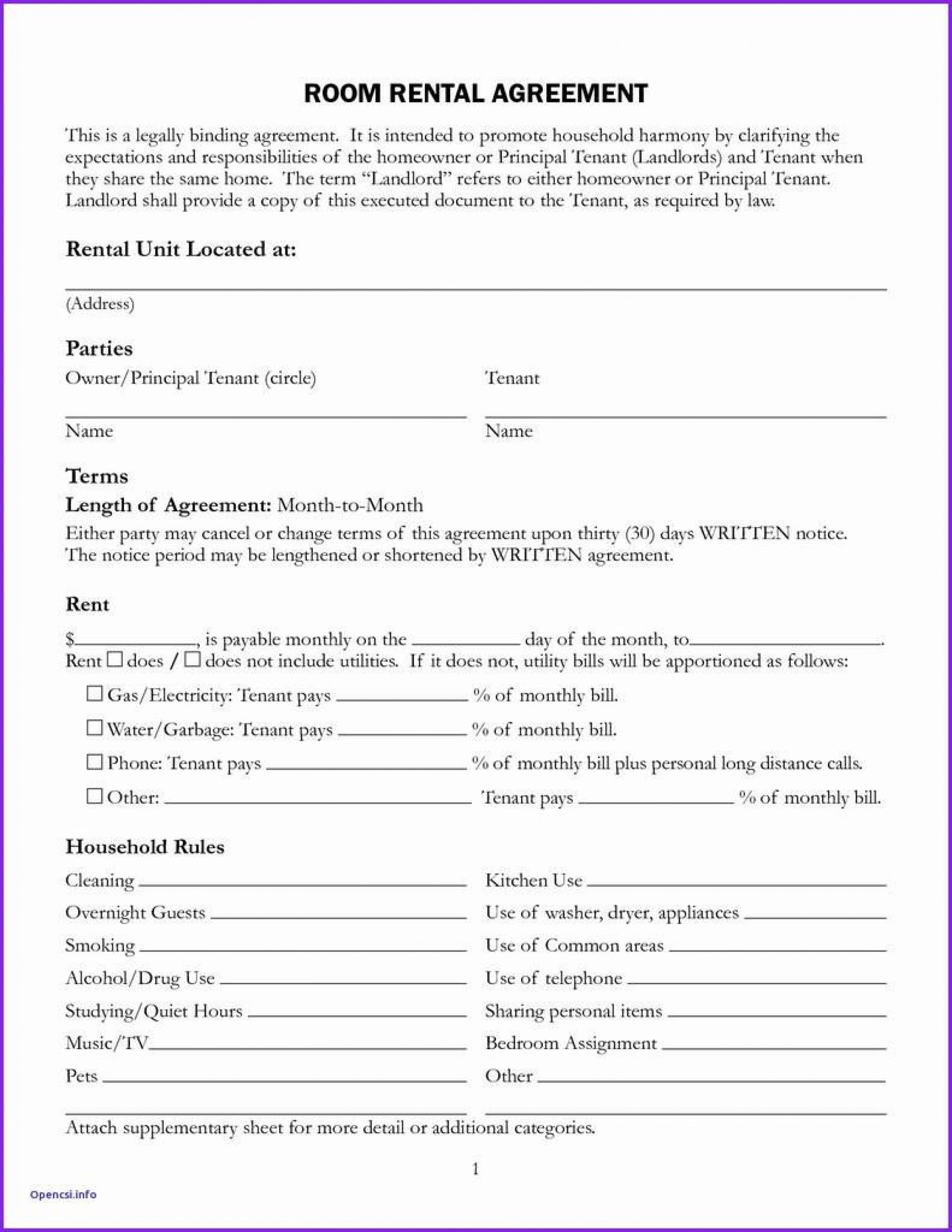 004 Archaicawful Simple Room Rental Agreement Template Design  Free1920